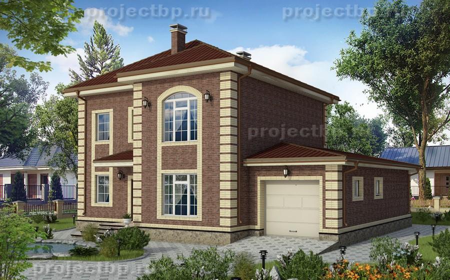 Проект дома в английском стиле с гаражом и террасой 171-B